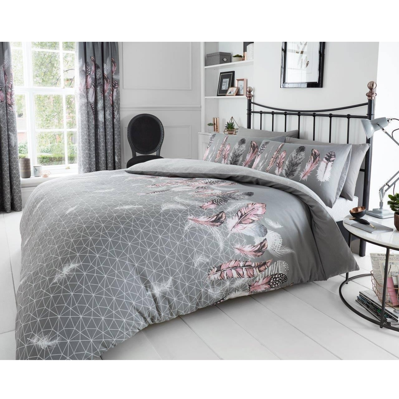 Details about FEATHERS DUVET COVER SET REVERSIBLE QUILT BED LINEN BEDDING  or CURTAINS SET GREY