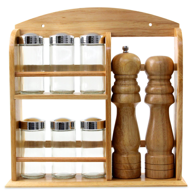 6 Piece Spice Herbs Rack Salt Pepper Shakers Pots Meal Dining Table Storage Jar