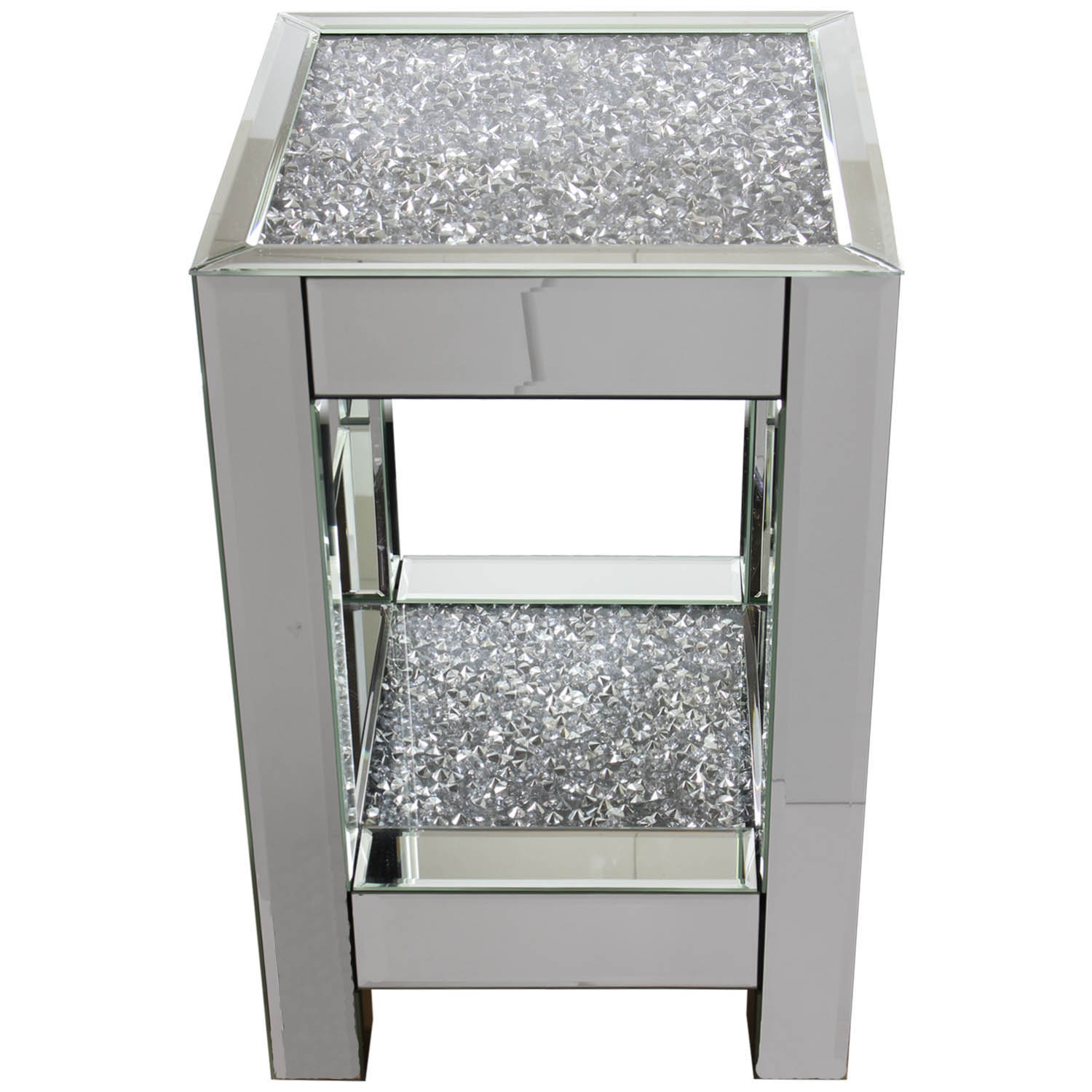 Square Mirror Crushed Diamond Mirrored Glass Display Side Table Home