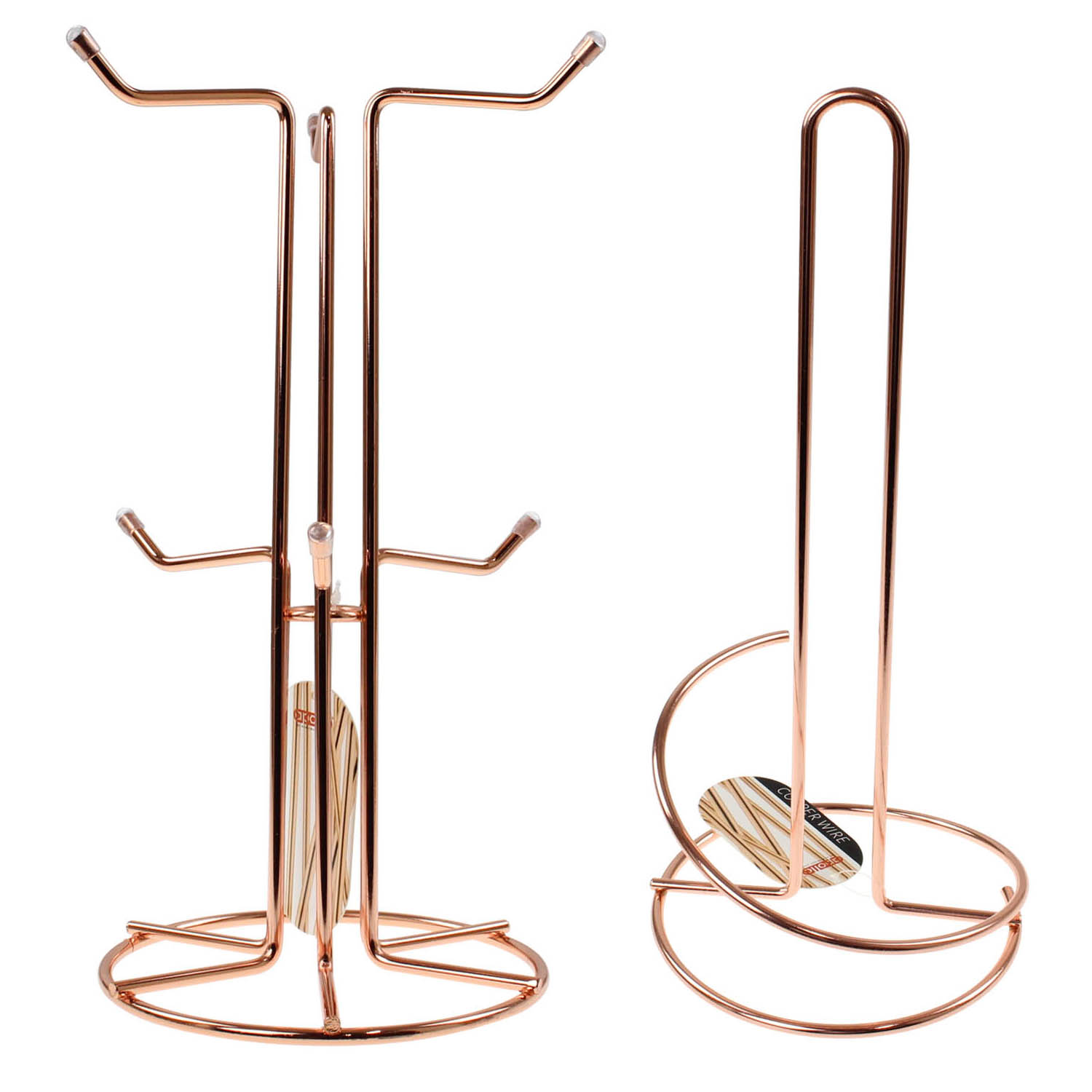 Details about Copper Mug Tree 6 Cups Holder and Kitchen Paper Roll Towel Pole Rack Dispenser