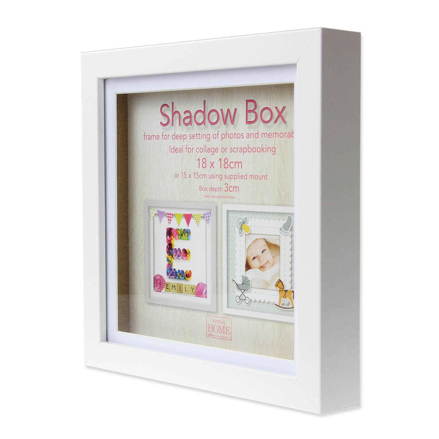 18cm Square White Wooden Deep Shadow Box 3D Photo Picture Frame ...