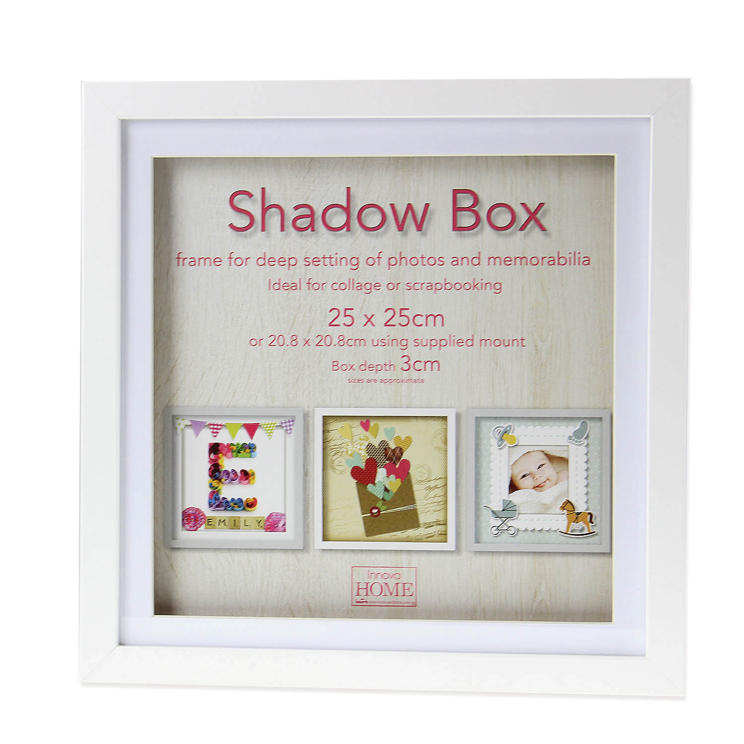 25cm Square White Wooden Deep Shadow Box 3D Photo Picture Frame ...