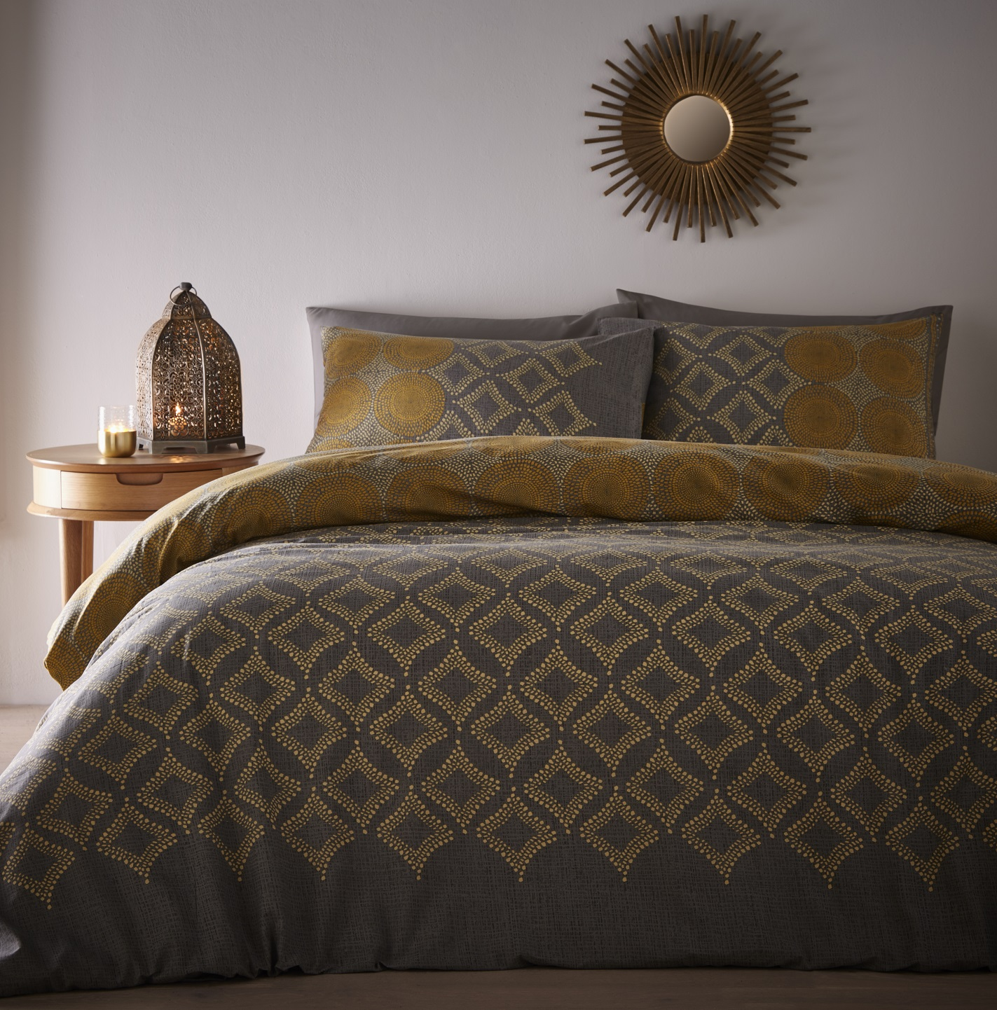 Details about Moroccan Ethnic Double Bed Duvet Cover Quilt Bedding Set Joel  Grey Ochre Yellow