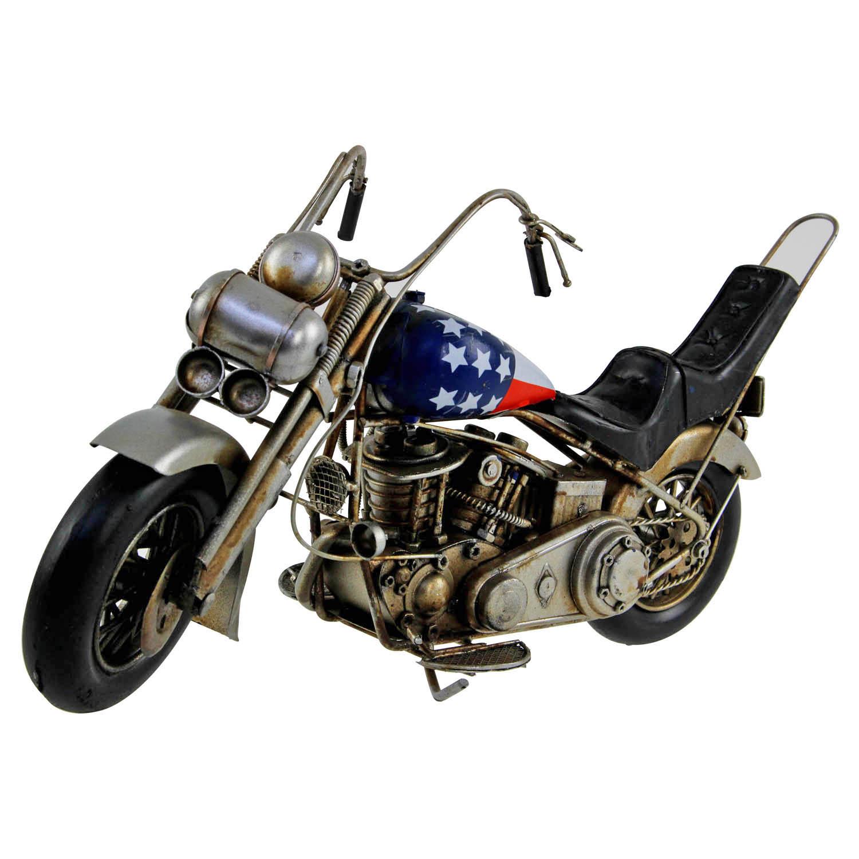 Vintage Metal Motorbike Model Tin Motorcycle Figure Scooter Bus Train Ornament