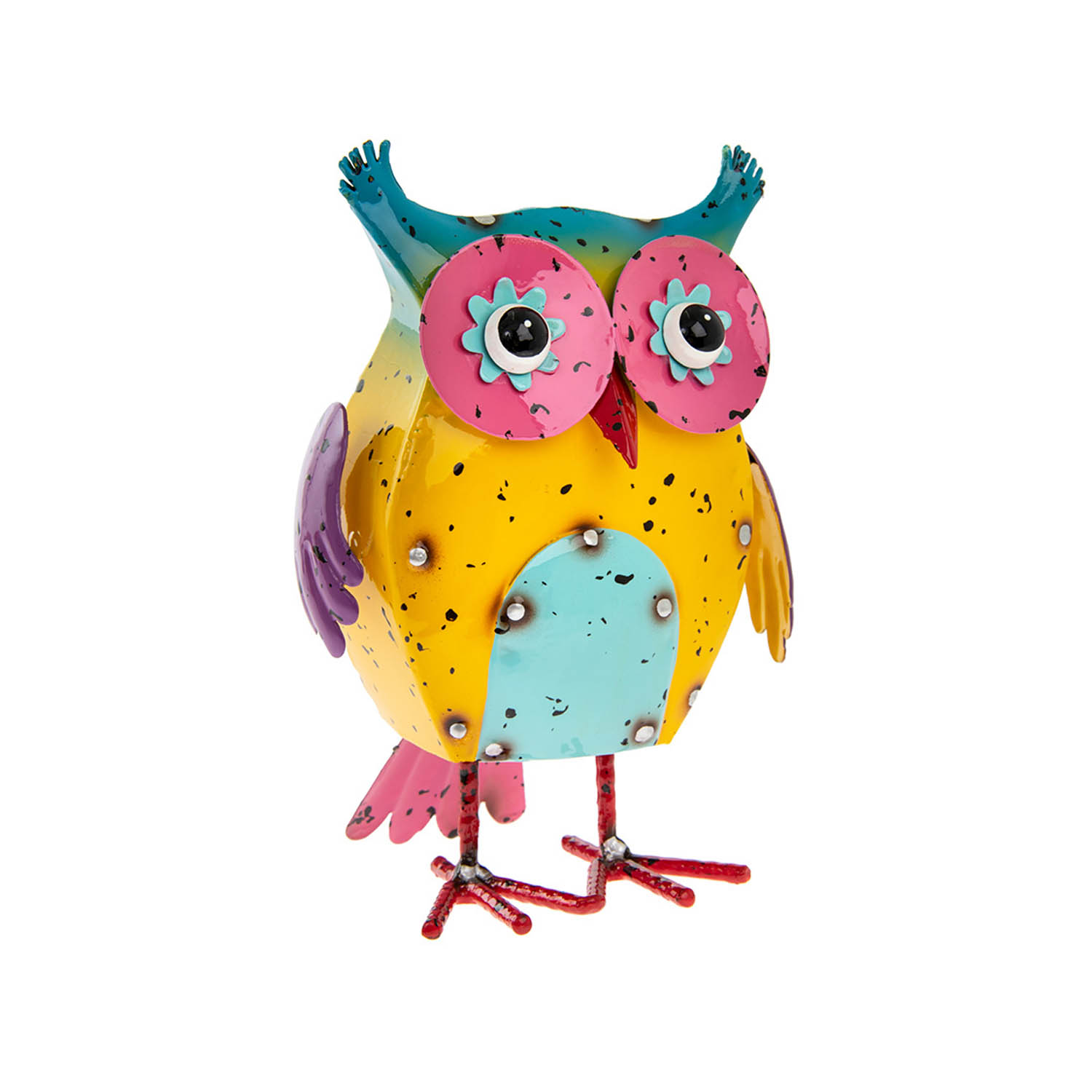 Bright Eyes Metal Yellow Body Owl Decorative Ornament Statue Figurine Sculpture