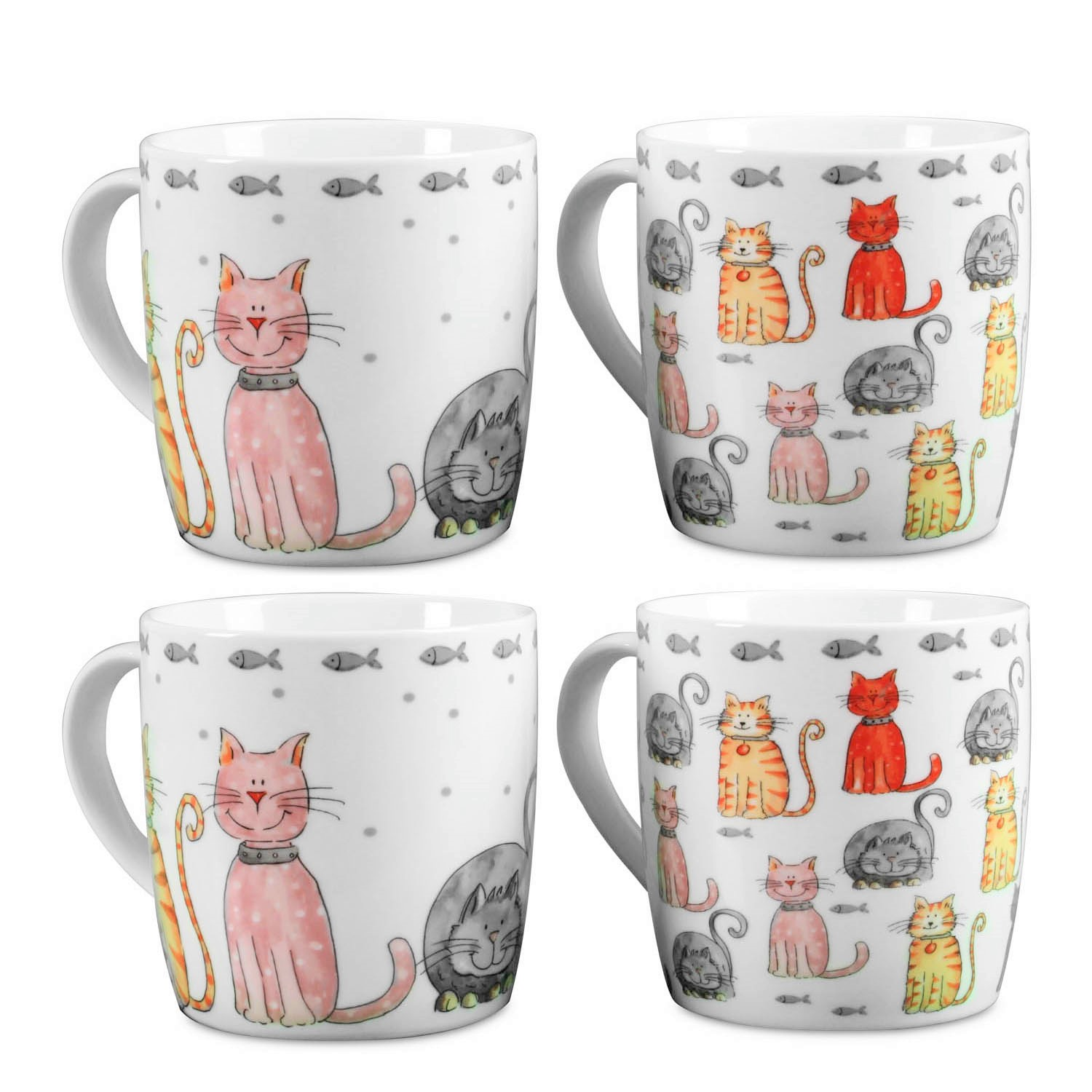 Set Of 4 Animated Doodle Cat Lovers Print Coffee Mugs Asstd 2 Designs Gift Idea Ebay