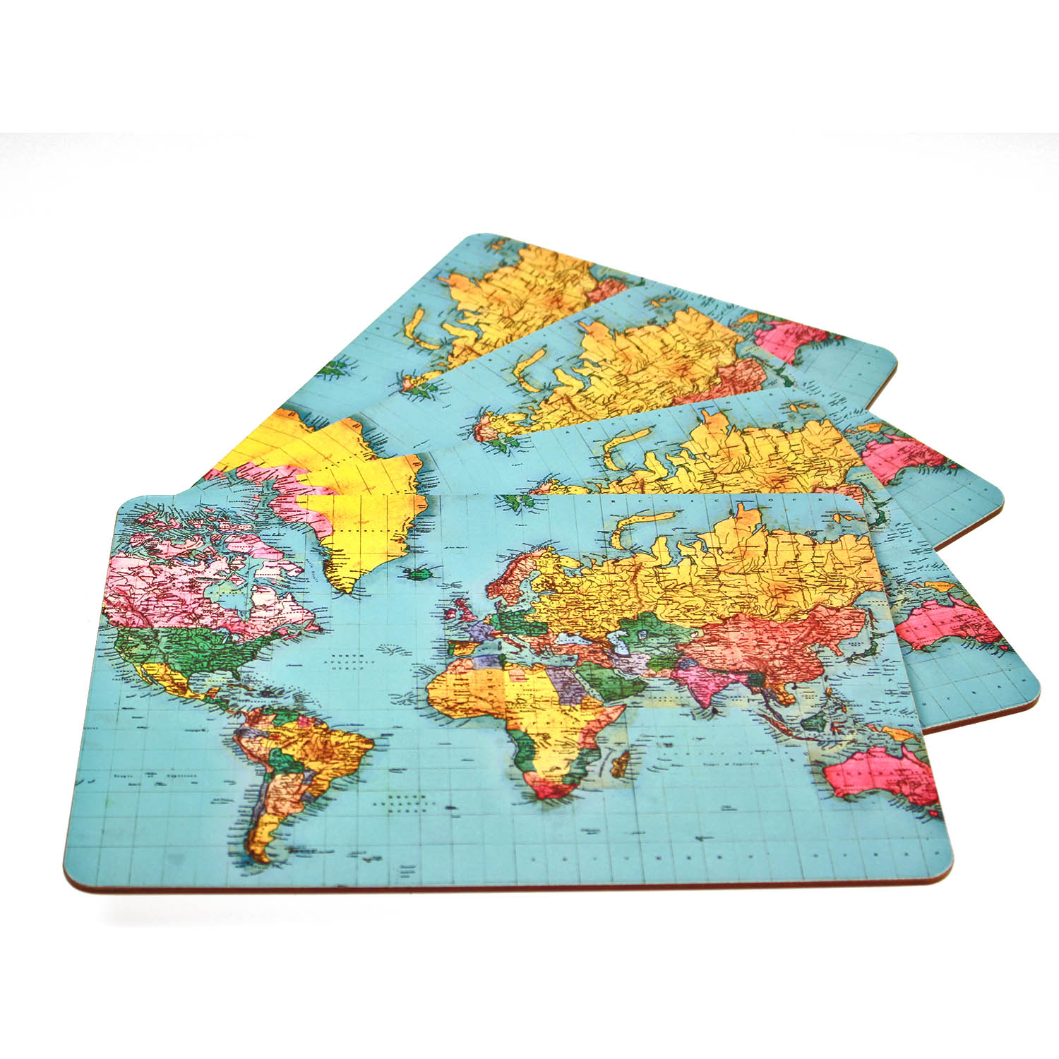 Set of 4 World Traveller Map Dinner Table Placemats Cork Backed Geography New