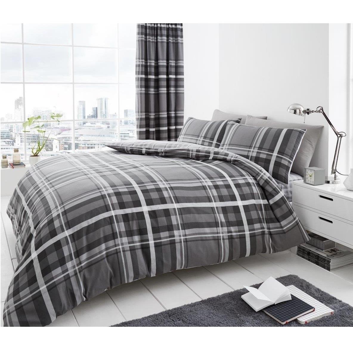 Luxury Newton Tartan Check Duvet Quilt Cover Bedding Bed Set Charcoal Grey Black Ebay