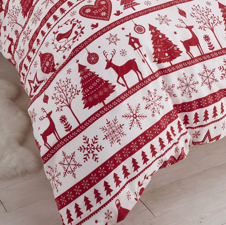 FATHER-CHRISTMAS-TREE-SANTA-REINDEER-SNOWMAN-QUILT-DUVET-COVER-BEDDING-LINEN-SET