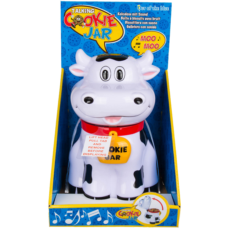 Talking Cow Animal Shaped Moo Sound Biscuit Cookie Jar Kitchen Food Tin Storage