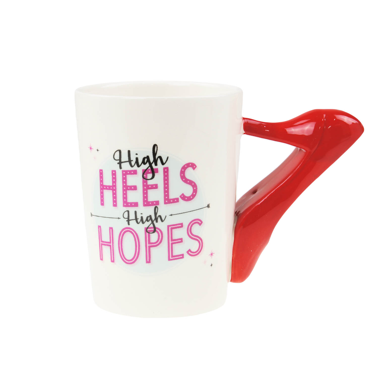 Details about Set of 2 250ml Ceramic Novelty Ladies Mug Lipstick and Heels Handle Gift Idea