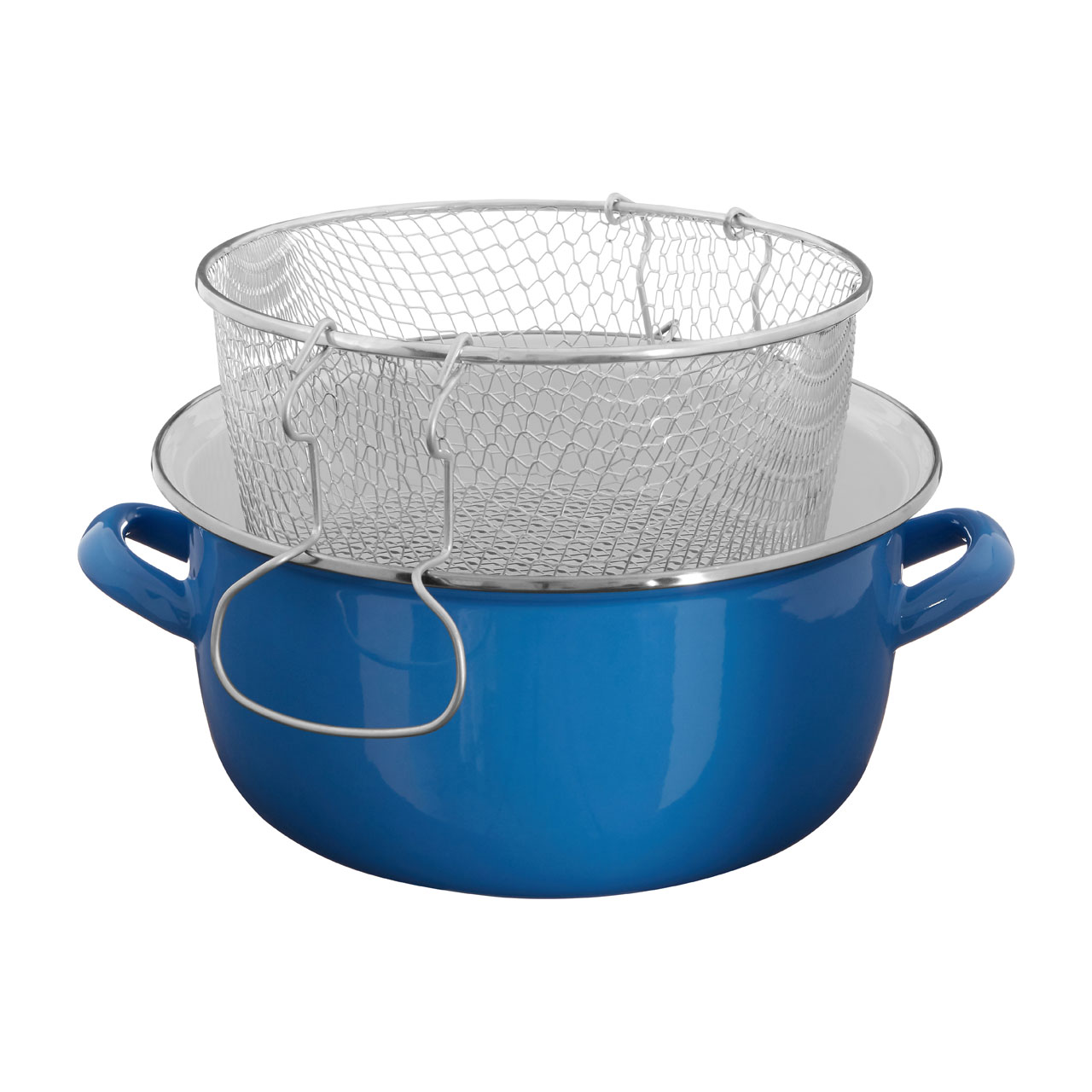 5 Litre Enamel Deep Fryer Pyrex Glass Lid Frying Fry Pan Cooking Pot ...