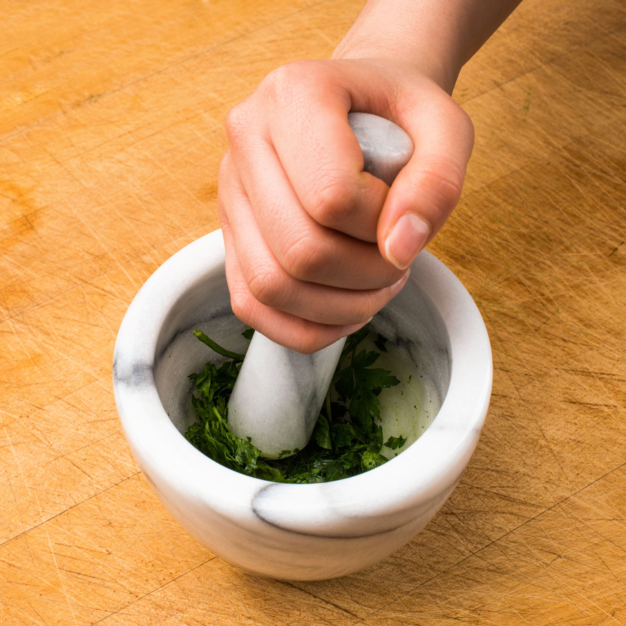 Kitchen Marble Chopping Board Mortar And Pestle Herbs