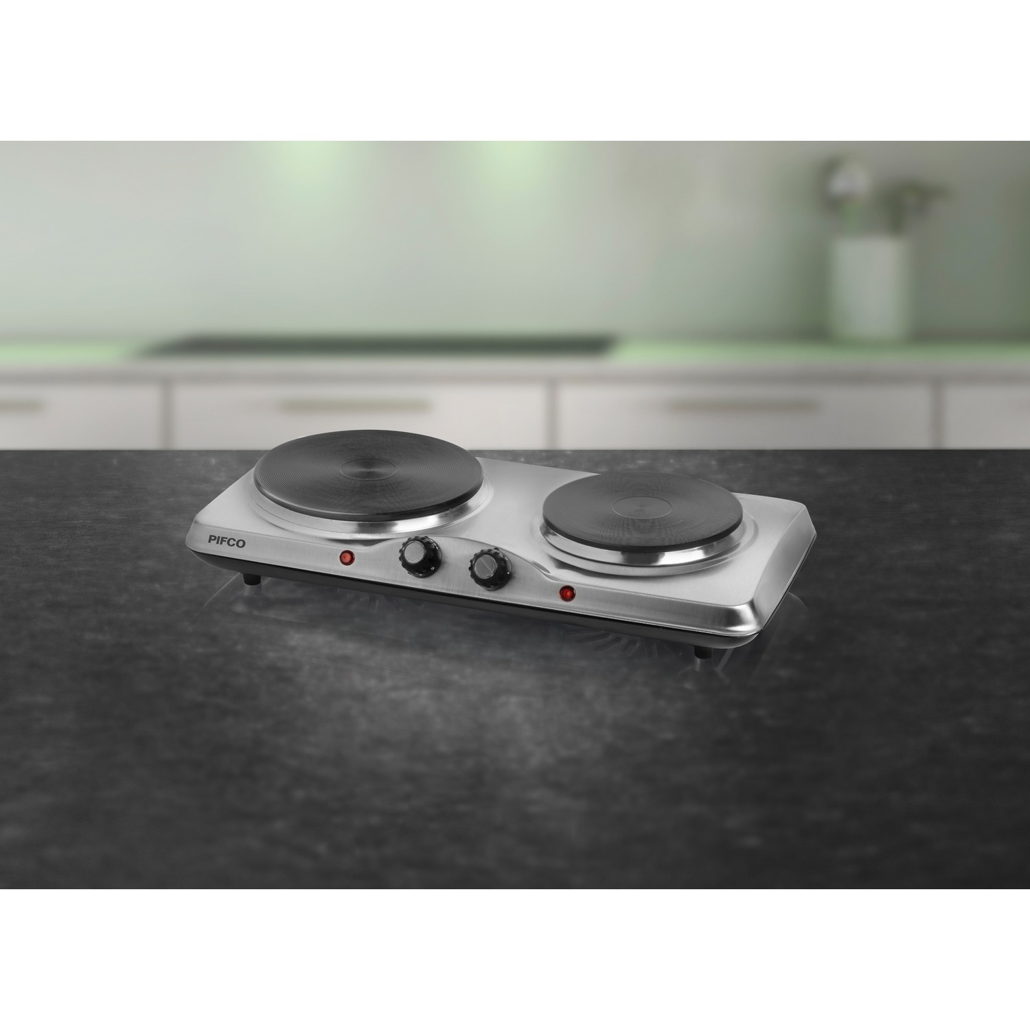 Portable Kitchen Hob 4 Seat ~ Pifco stainless steel double twin electric boiling ring