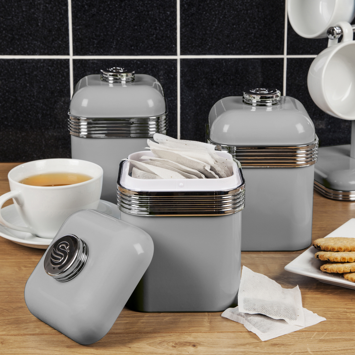 Swan 3pc Retro Tea Coffee Sugar Kitchen Storage Canisters ...