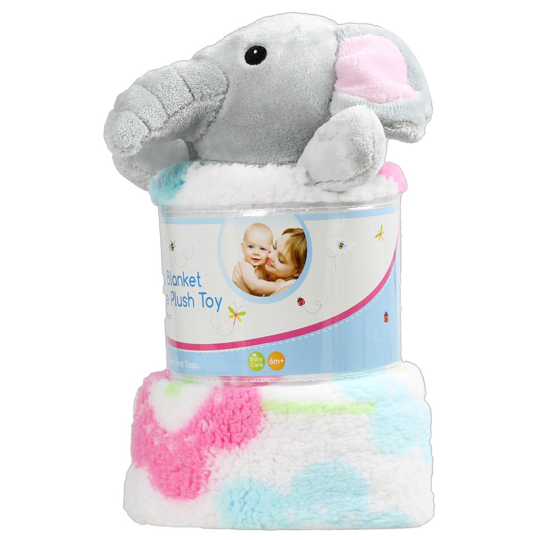 Printed Sherpa Newborn Soft Baby Blanket Pram Crib Moses Basket Plush Toy Pink