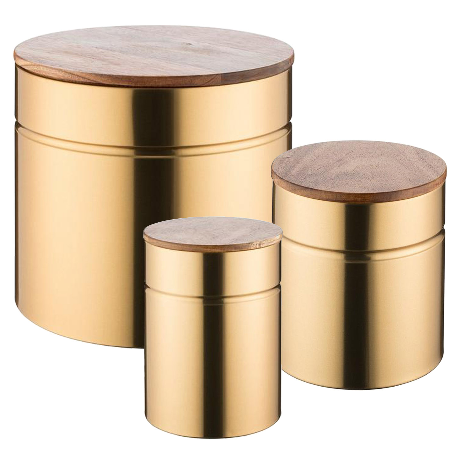Details about modern kitchen 3 piece gold storage canisters bread bin wooden lid container set