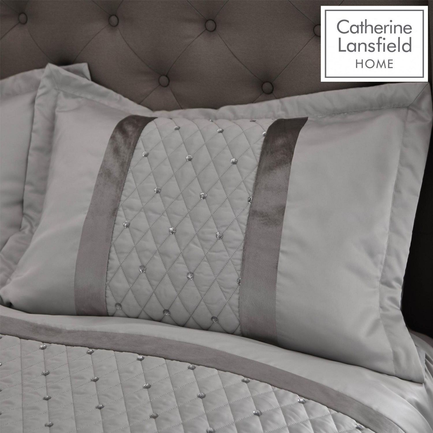 2 X Catherine Lansfield Sequin Cluster Silver Grey Pillow Shams Covers Cases New Ebay