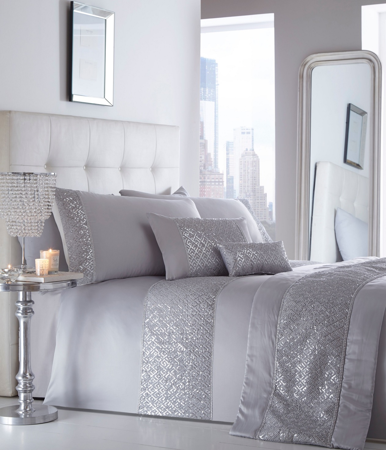 SHIMMER EMBELLISHED DUVET COVER SET SEQUIN DIAMANTE ...