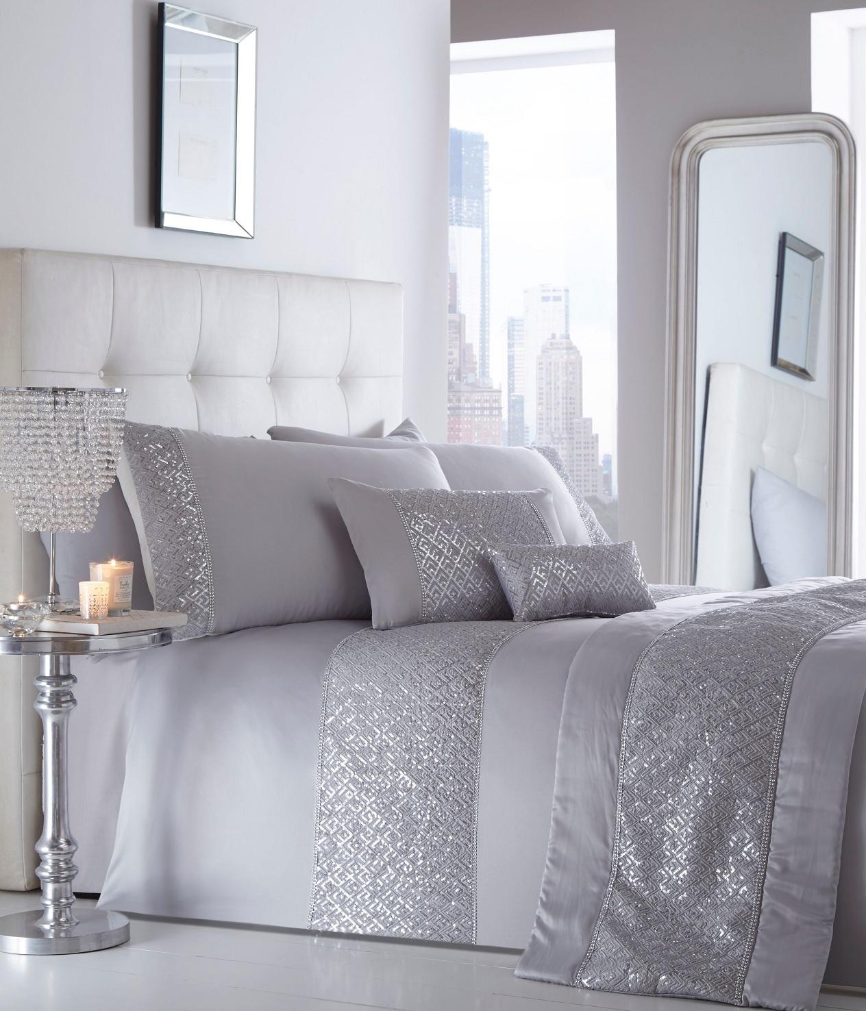 luxury sequin diamante duvet quilt cover bedding linen set. Black Bedroom Furniture Sets. Home Design Ideas