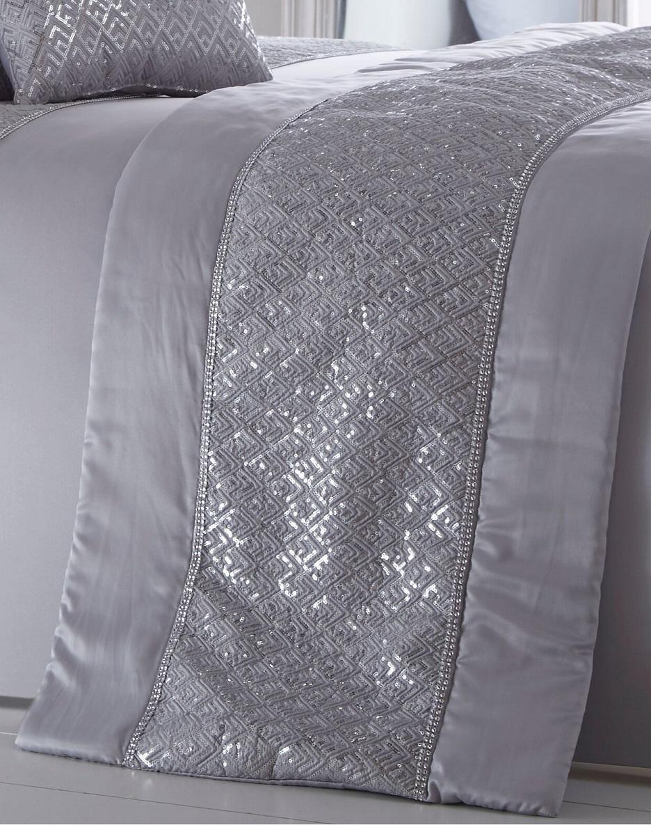 Luxury Sequin Diamante Quilted Bed Runner Throw 50cm X 220cm Shimmer Silver Grey Ebay