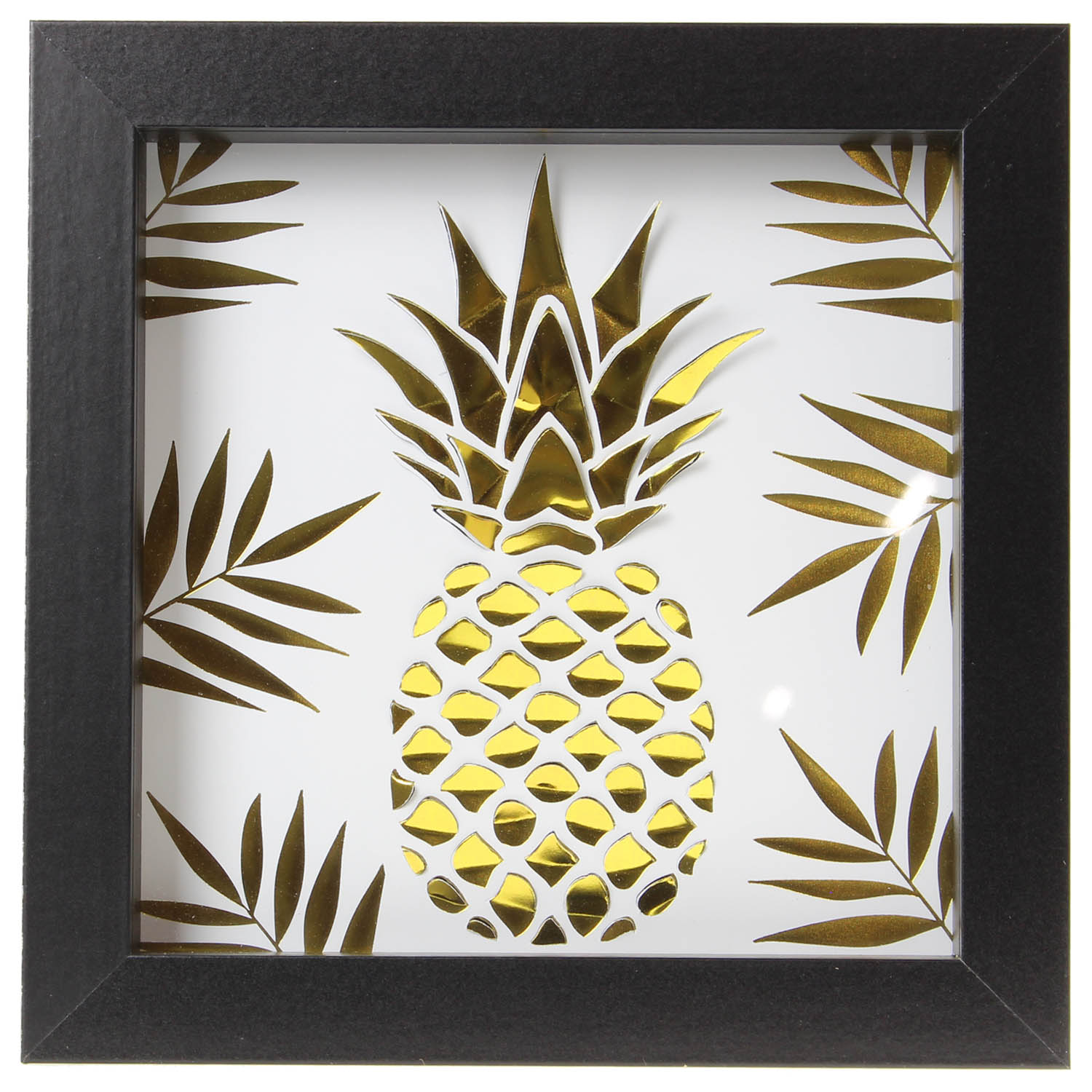 Black box picture frame with Gold Pineapple