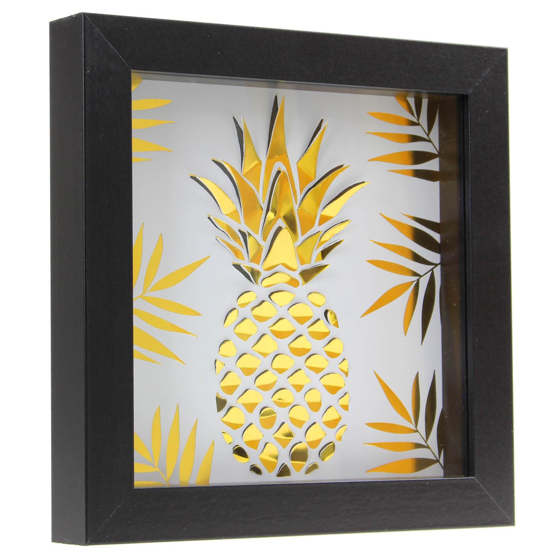Framed Gold Foil Effect Pineapple Fruit Design Wall Hanging Art Home ...