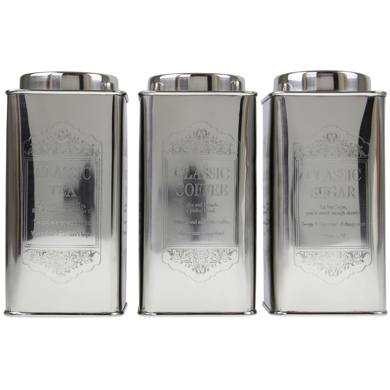 Set Of 3 Large Tea Coffee Sugar Canisters Kitchen Storage Tin Jars