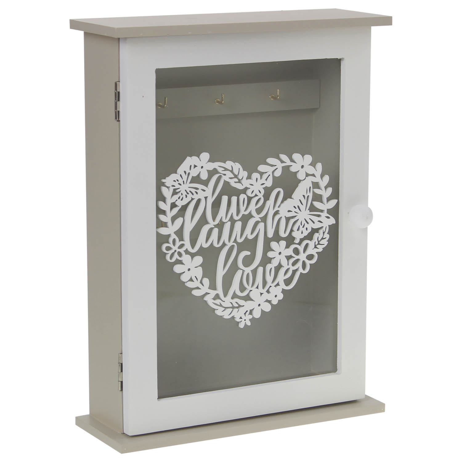 Cutout Live Laugh Love Heart Free Stand Key Box Keys Holder Cupboard Storage
