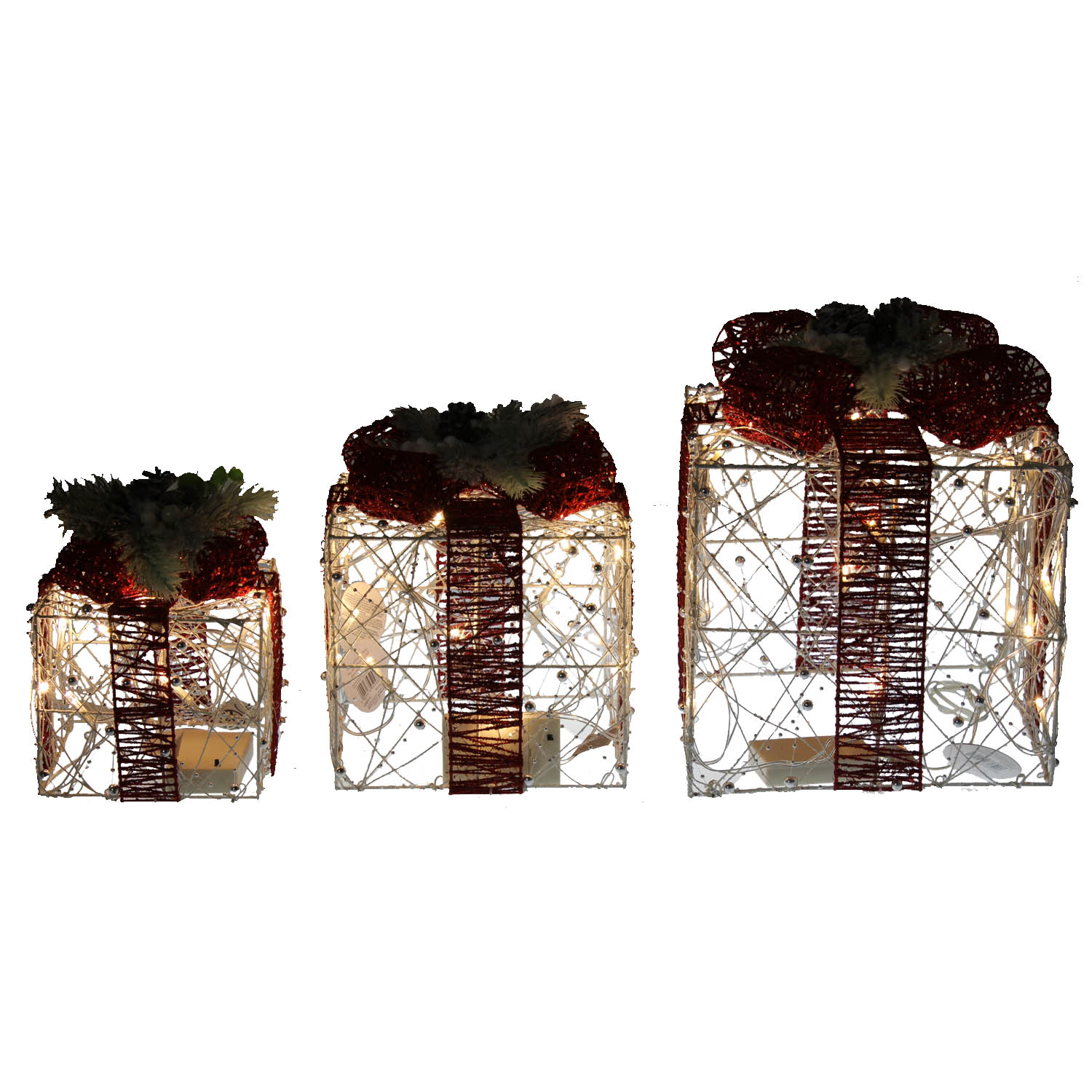 Light Up Parcels Christmas Decorations Argos: Set Of 3 Pearl LED Light Up Christmas Xmas Presents Gifts