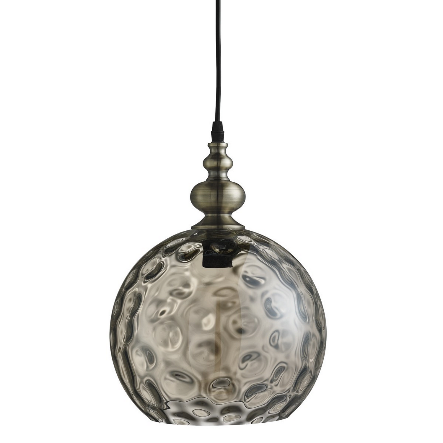 Picture of: Indiana Antique Brass Globe Ceiling Pendant Light Fitting Dimpled Glass Shade 5053423058566 Ebay