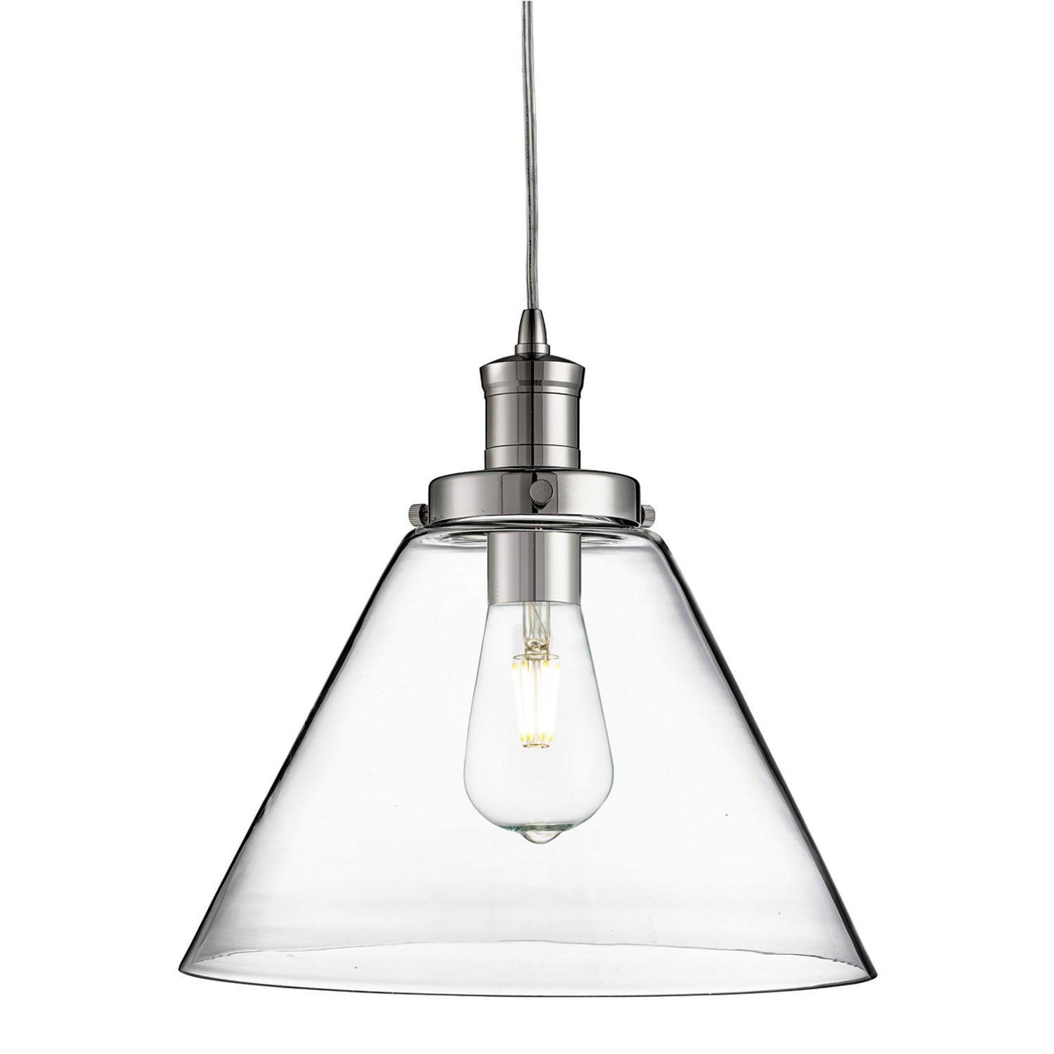 Details about pyramid chrome ceiling pendant light fitting clear glass shade home lighting new