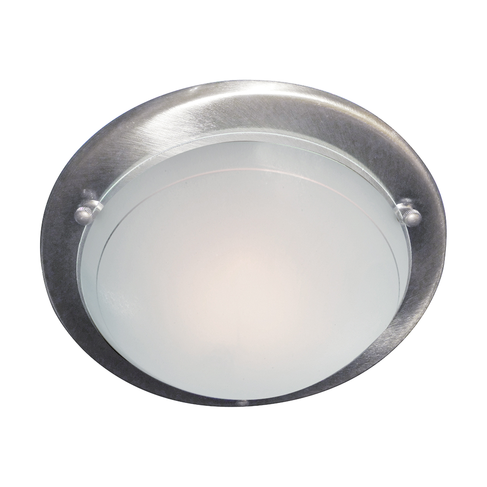 Details about searchlight 12in silver modern metal glass flush fitting ceiling recessed light