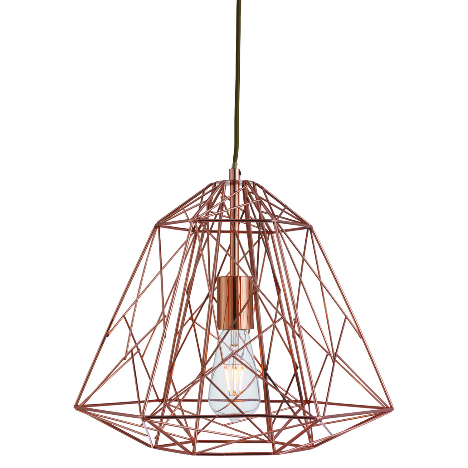 Copper Geometric Cage Frame Shade Ceiling Pendant Light
