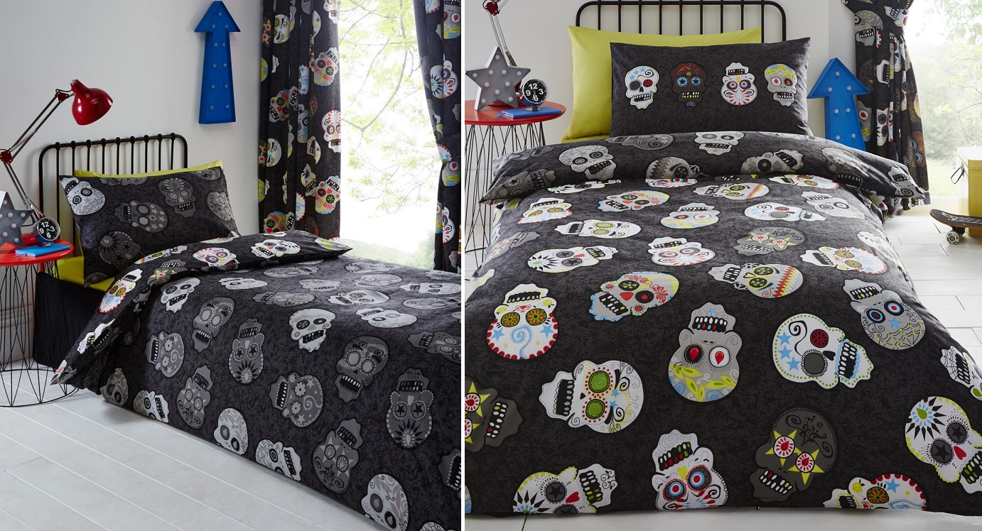 SUGAR CANDY SKULLS TATTOO REVERSIBLE DUVET QUILT COVER