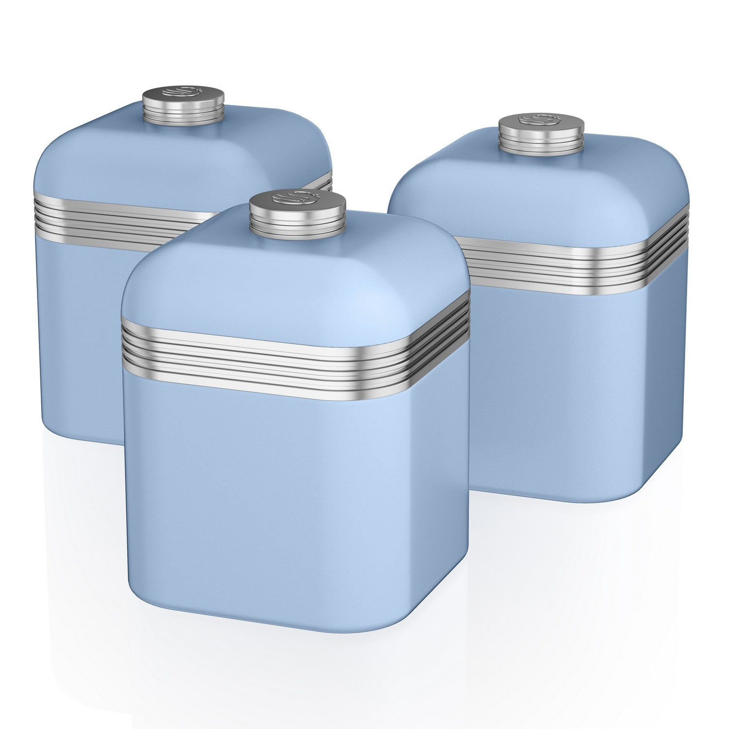 cb81600ec2ae Details about Swan Retro Set of 3 Blue Tea Coffee Sugar Spices Herbs Canisters  Kitchen Storage