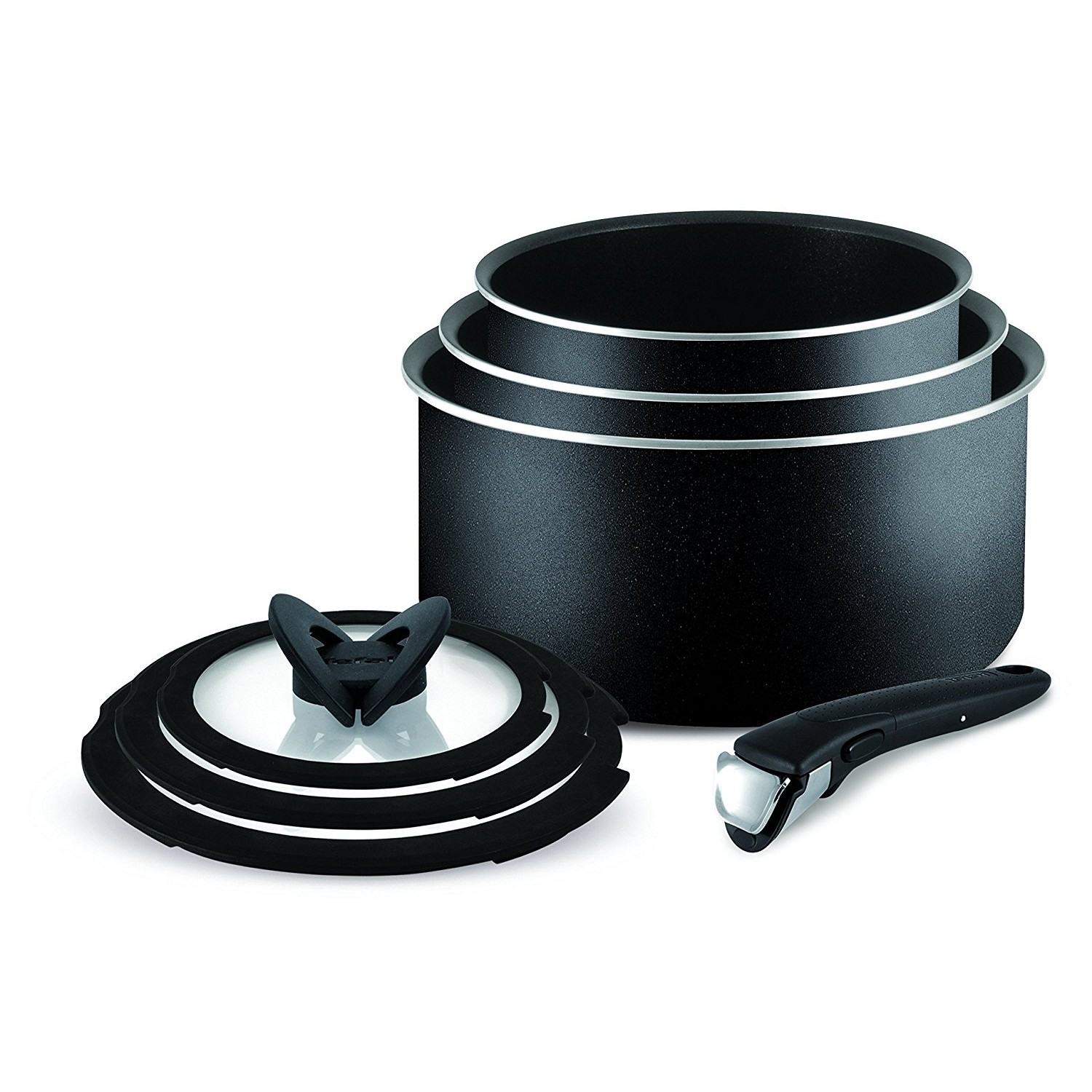 tefal ingenio essential non stick 7pc saucepan pan set kitchen cookware black ebay. Black Bedroom Furniture Sets. Home Design Ideas