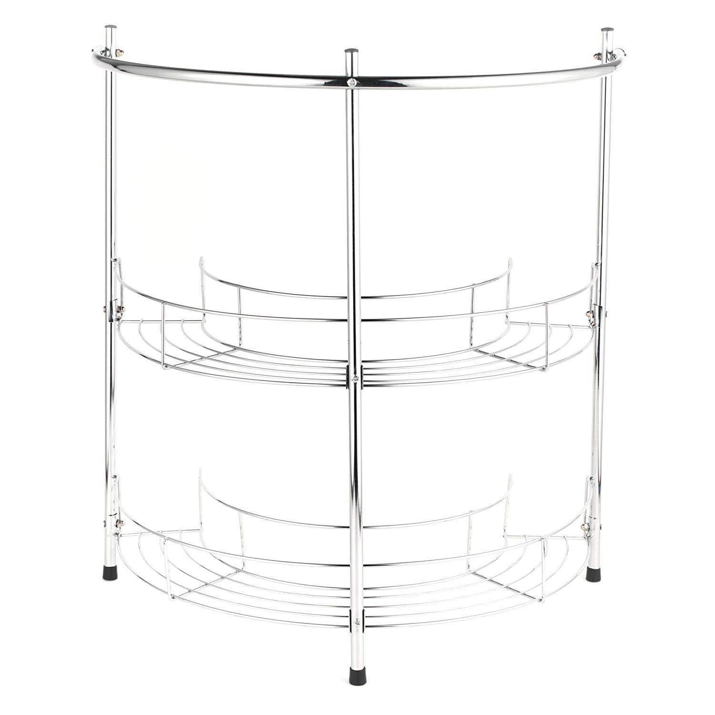 Organiser Meuble Sous Evier détails sur beldray chrome 2 étages meuble de rangement encastrable sous  évier salle de bain rack étagère rail organisateur- afficher le titre