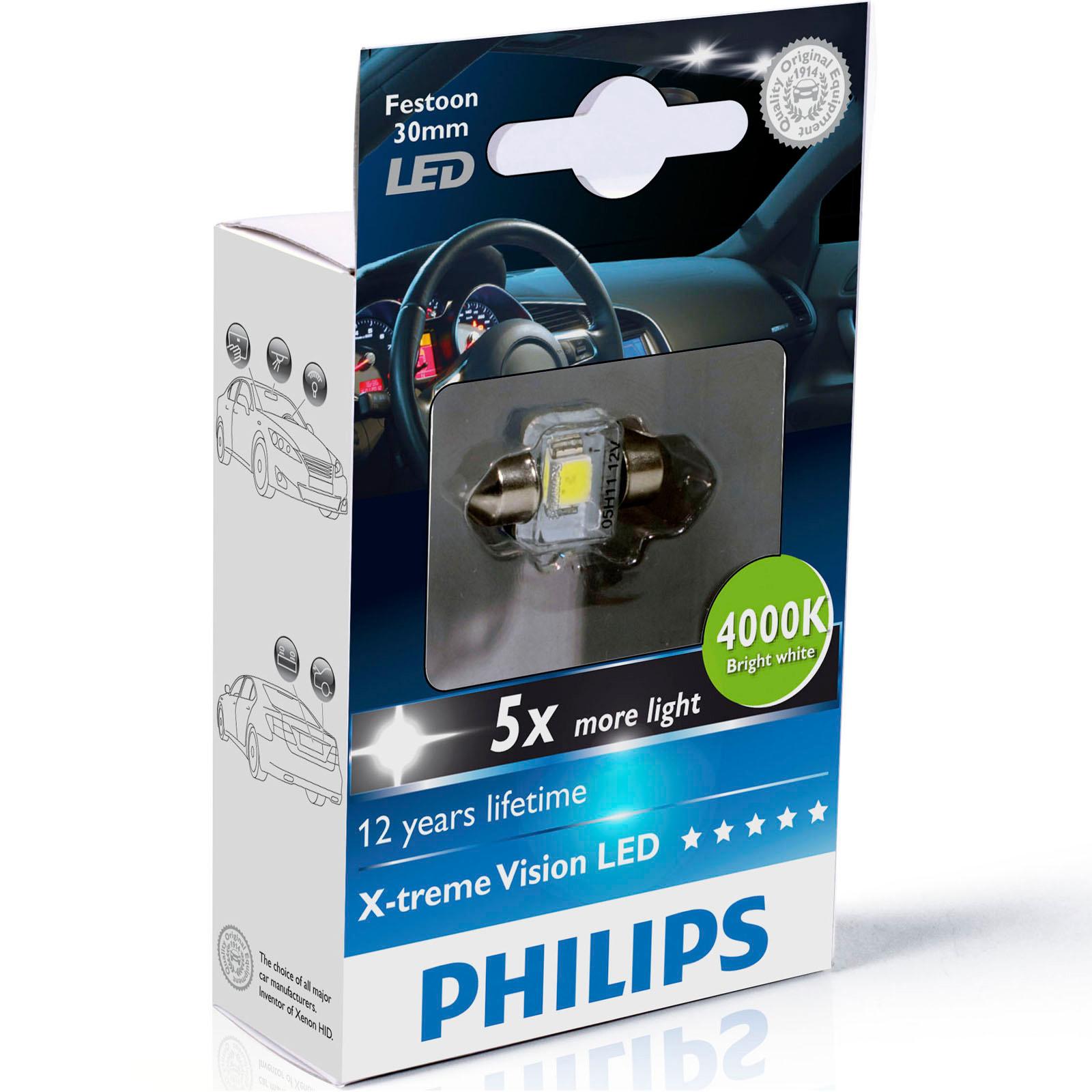philips x treme vision feston voiture del ampoules disponible en 4000k 6000k ebay. Black Bedroom Furniture Sets. Home Design Ideas