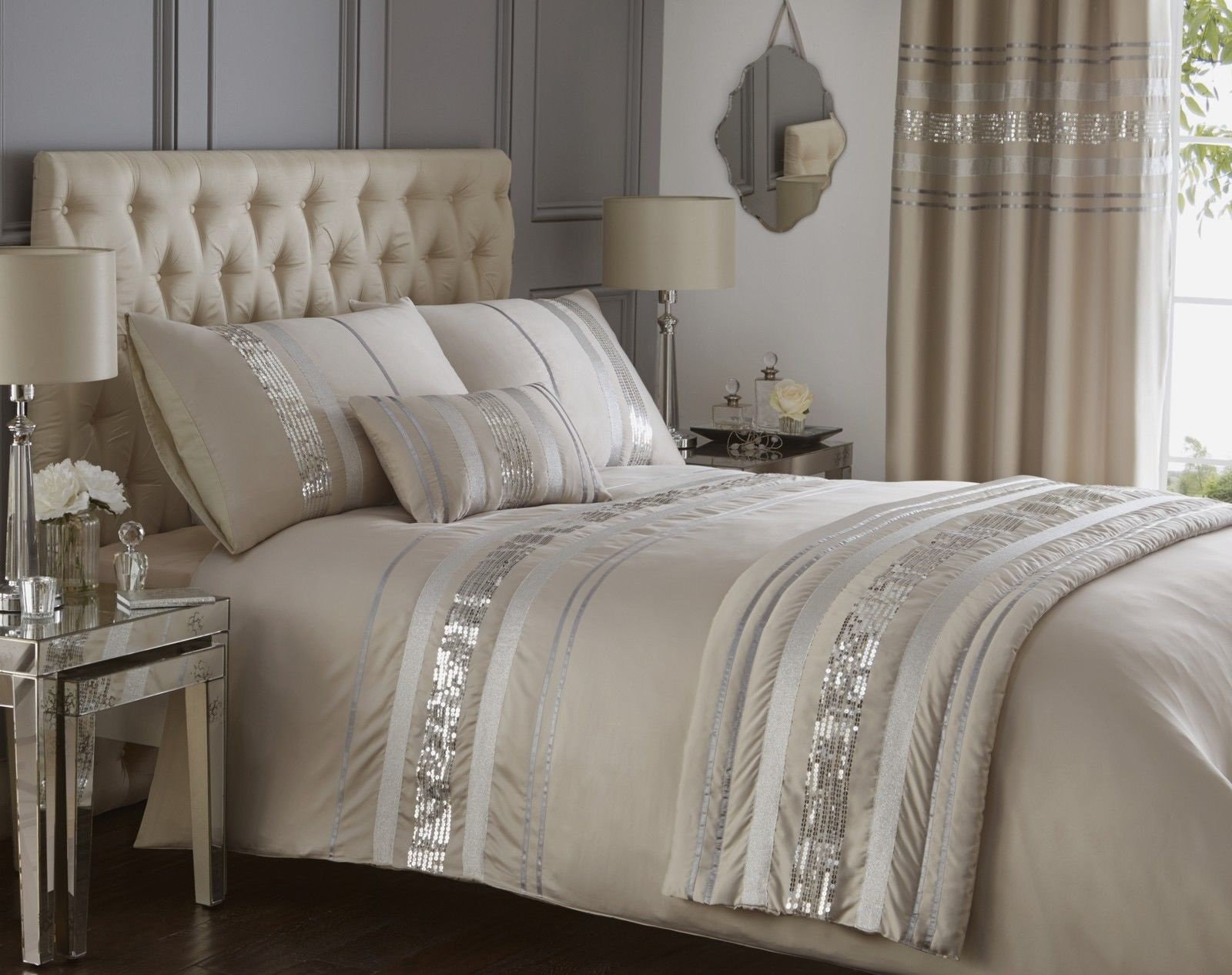 luxury sequin glitter stripe duvet quilt cover bedding set. Black Bedroom Furniture Sets. Home Design Ideas
