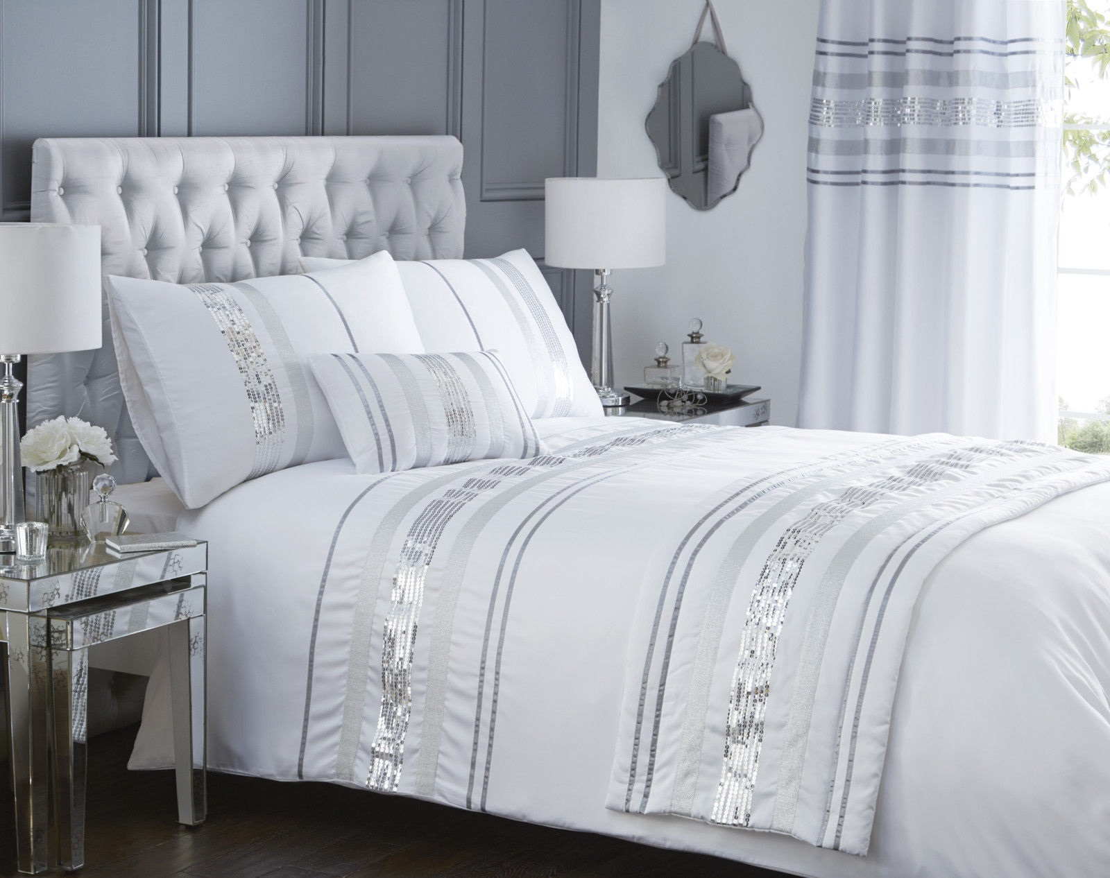 Luxury sequin glitter stripe duvet quilt cover bedding set - Bedroom comforter and curtain sets ...
