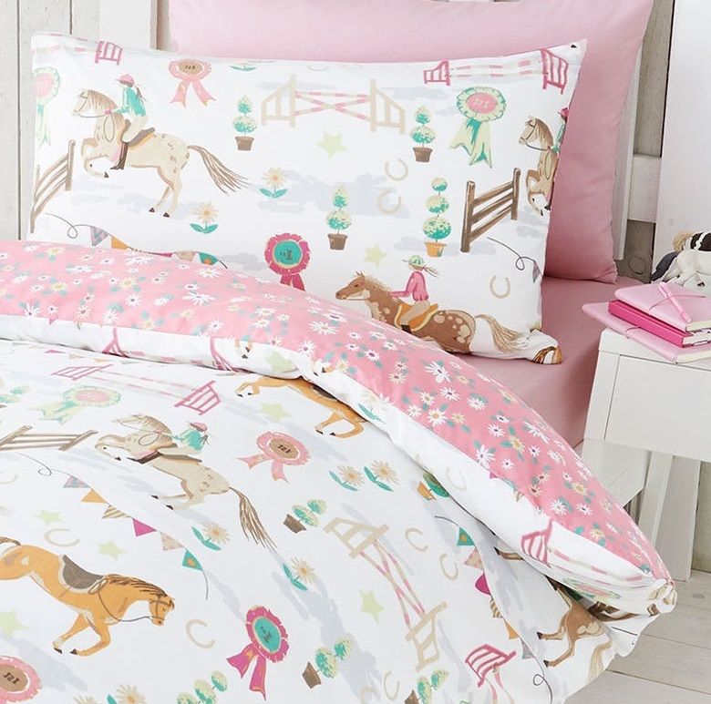HORSE PONY JUMPING SHOW TIME DUVET QUILT COVER DAISY PRIZE ...