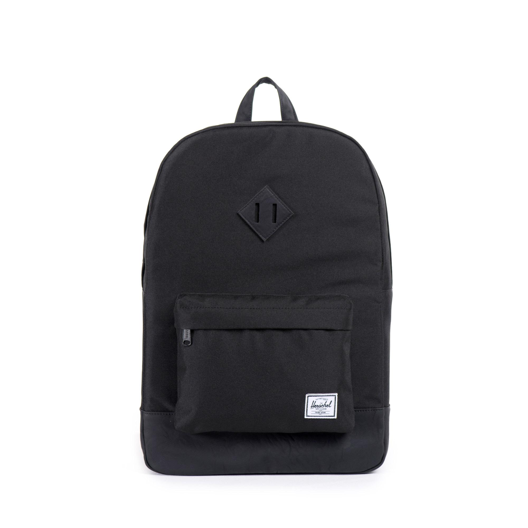 2c3497735dc0 Details about Herschel Heritage 21.5 Litre Back Pack Black Black Synthetic  Leather