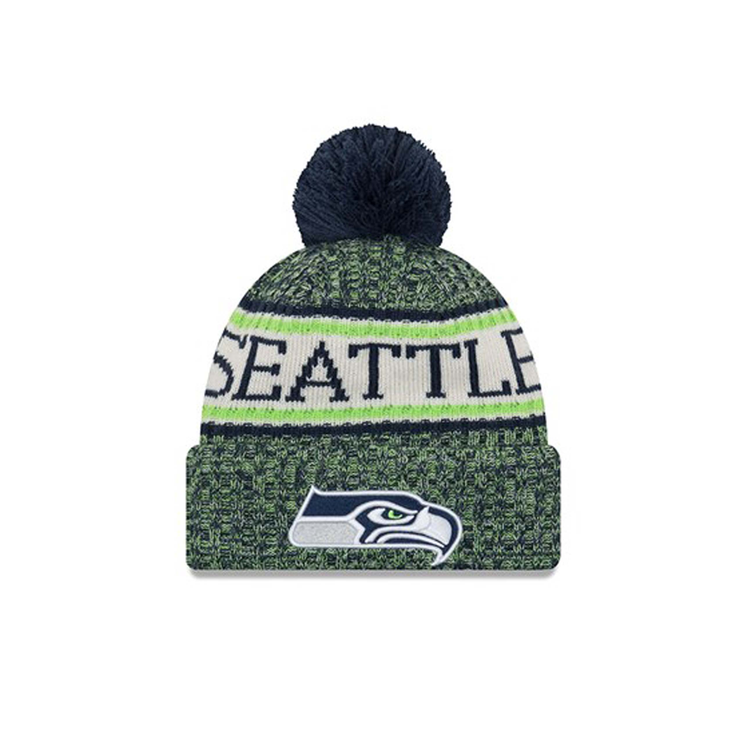 35057b67ad3e7e Details about New Era NFL Sideline Bobble Knit Home Seattle Seahawks Beanie  OTC OSFA