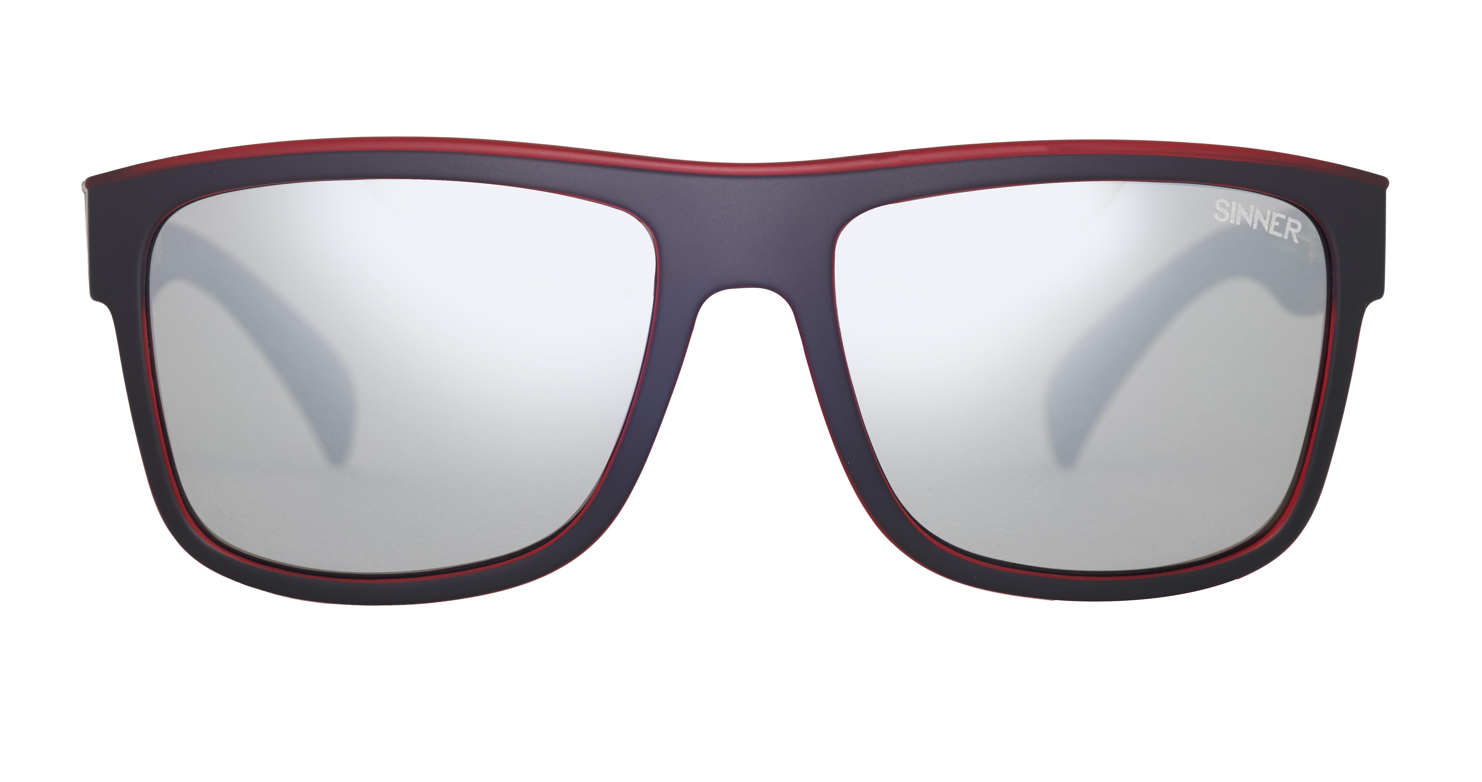 Sinner Skagen Sunglasses - Matt Black Red / SINTEC® Silver Mirror xk813uT