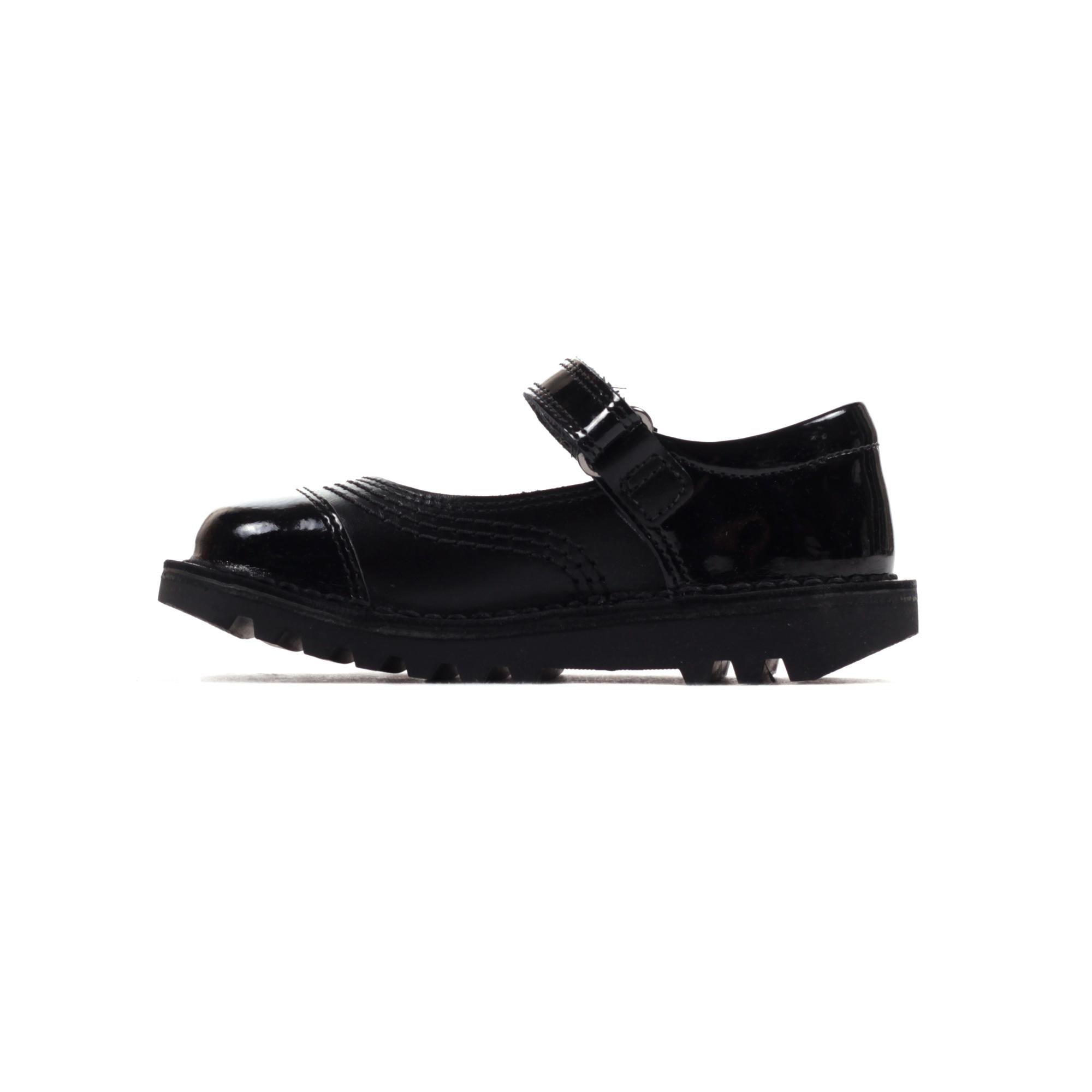 40e2e1116b84e Kickers Kick Pop in pelle neonato ragazze scuola moda scarpa nero