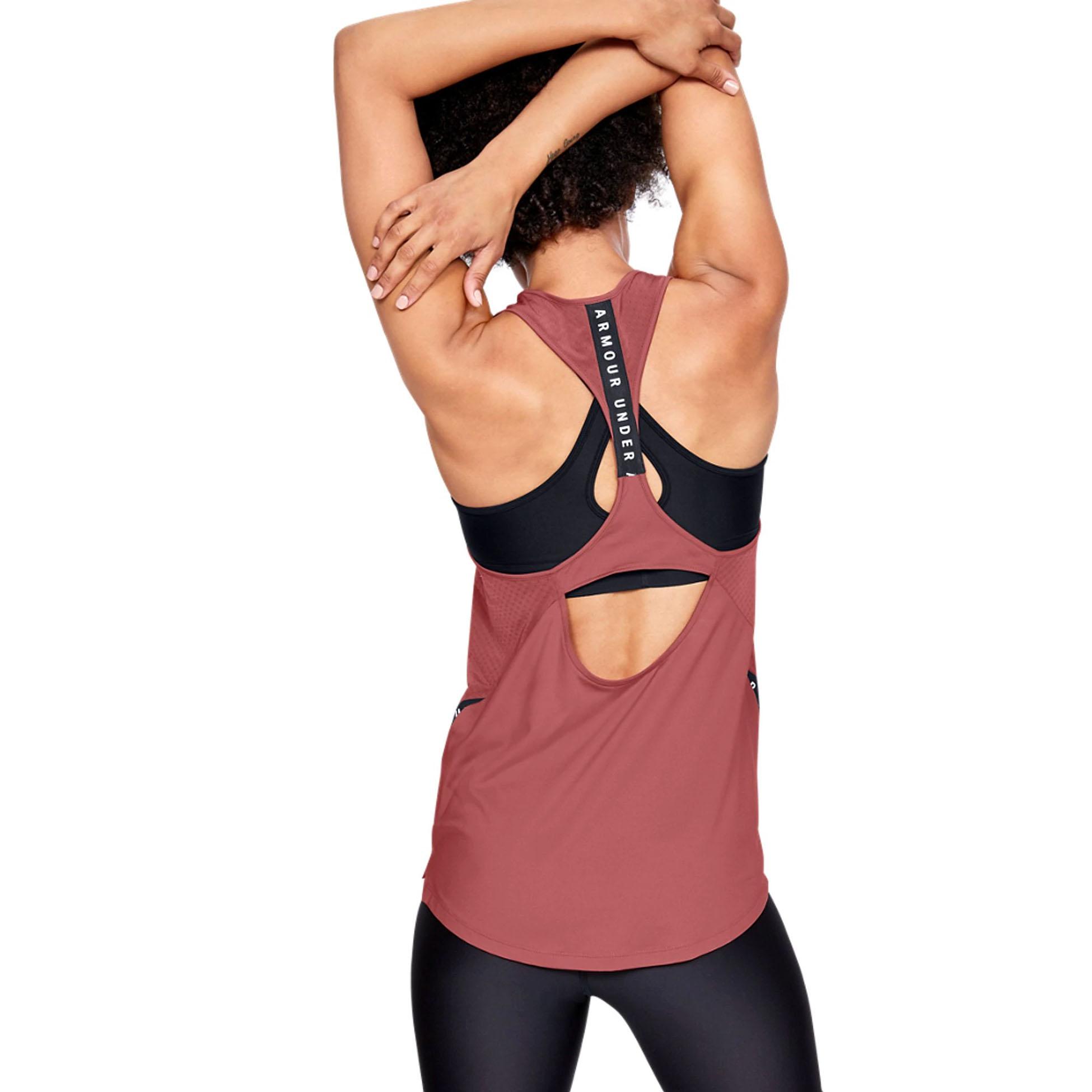 Under-Armour-Mot-Symbole-ruban-Pour-Femme-Femmes-Fitness-Training-Vest-Tank-Rose miniature 8