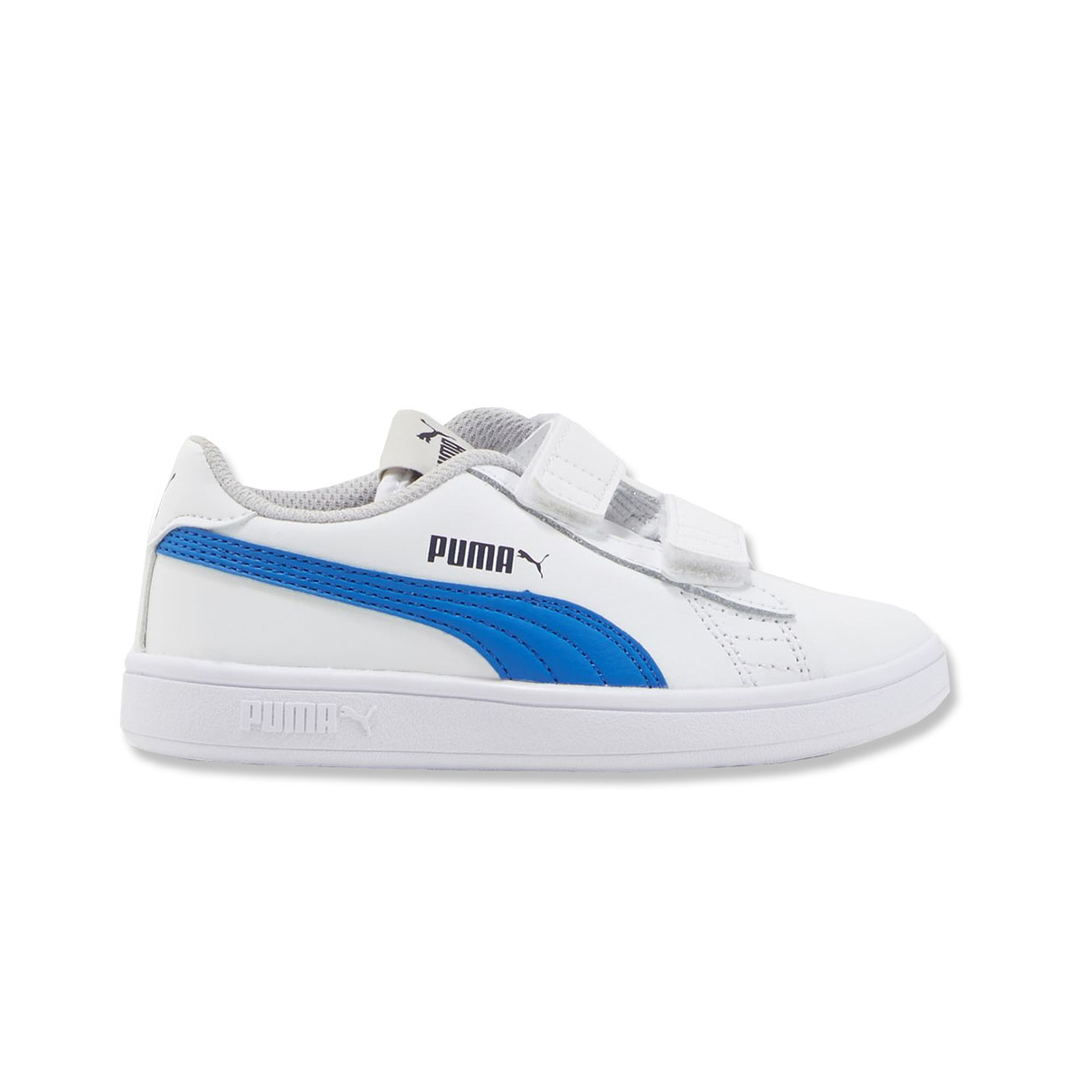 2e736ec11543 Details about Puma Smash V2 Leather Junior Kids Sports Trainer Shoe  White Blue