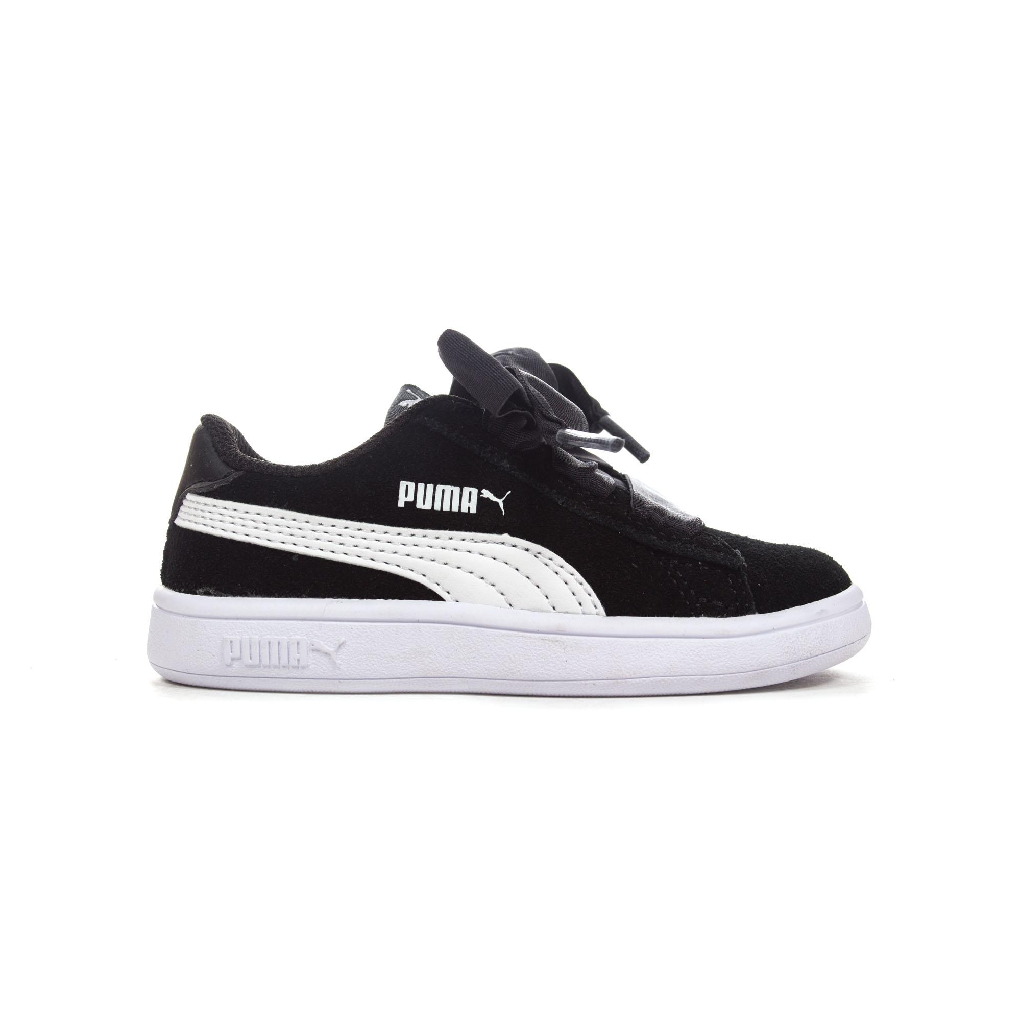 3c4db3a8ee50 Details about Puma Smash V2 Ribbon Suede Infant Girls Trainer Shoe Black  White