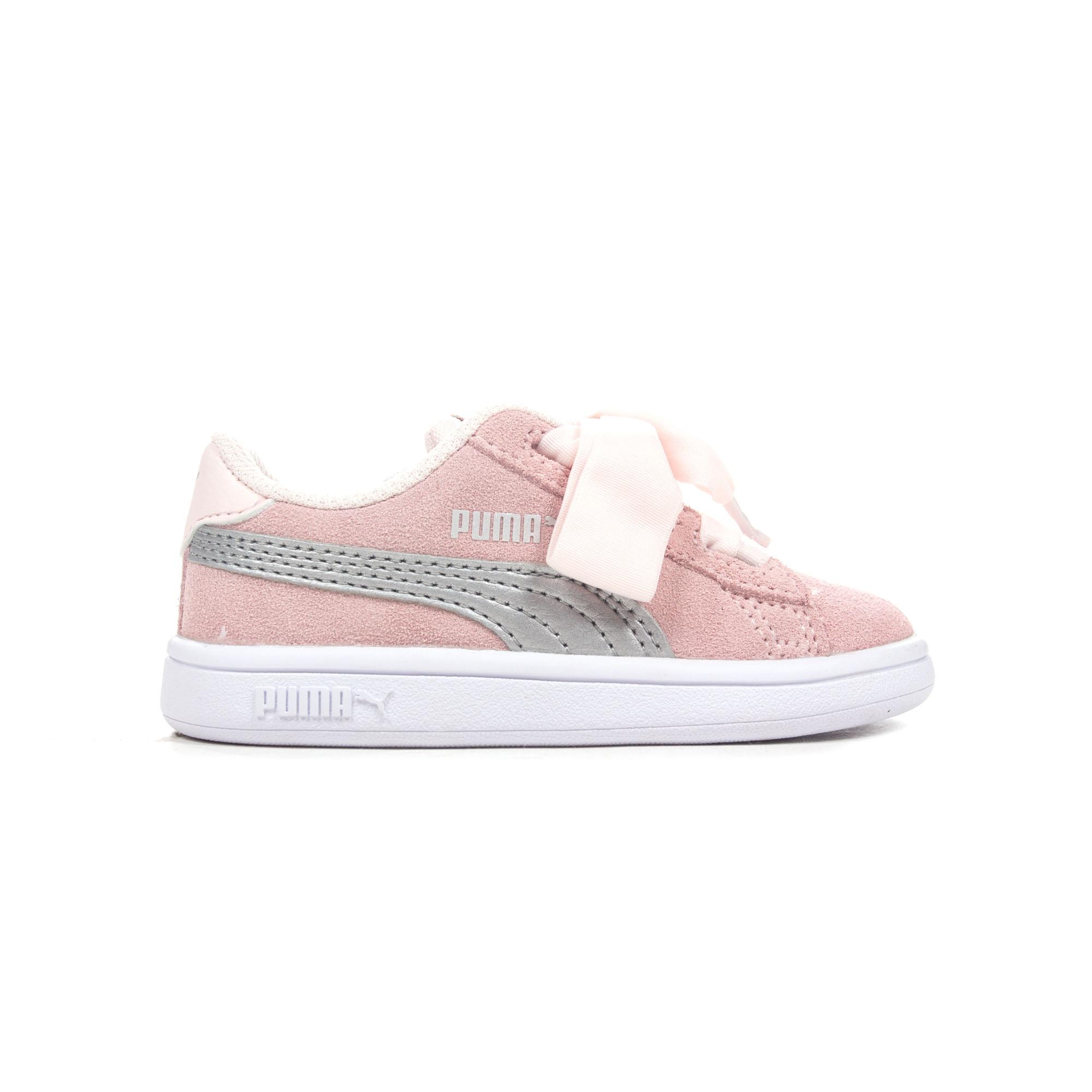 Details about Puma Smash V2 Ribbon Suede Infant Girls Trainer Shoe  Pearl Silver - UK 9 1237dee98